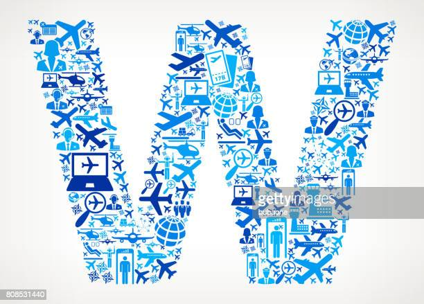 Letter W Aviation and Air Planes Vector Graphic