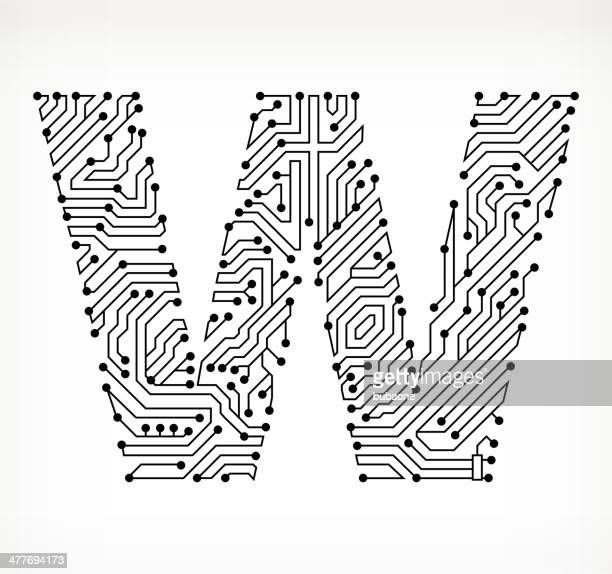 letter w stock illustrations and cartoons
