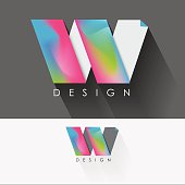 letter w colorful design element for business