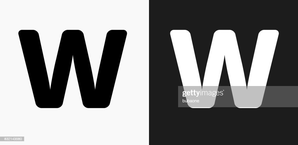 Letter W Icon On Black And White Vector Backgrounds Vector ...