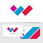 Letter w logo vector concept with business card, red blue violet color gradient logotype symbol isolated on white, idea of three parallel lines brand sign, modern trendy design