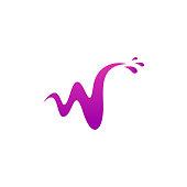 Letter W water vector logo design