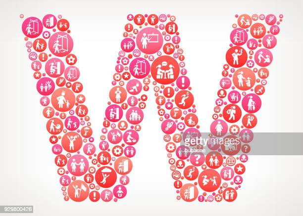 letter w women female empowerment vector icons pattern - women's issues stock illustrations, clip art, cartoons, & icons