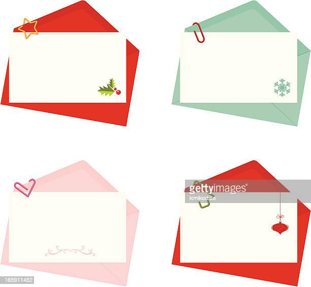 letter with envelope holiday set - envelope stock illustrations, clip art, cartoons, & icons