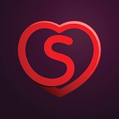 S letter with red heart.