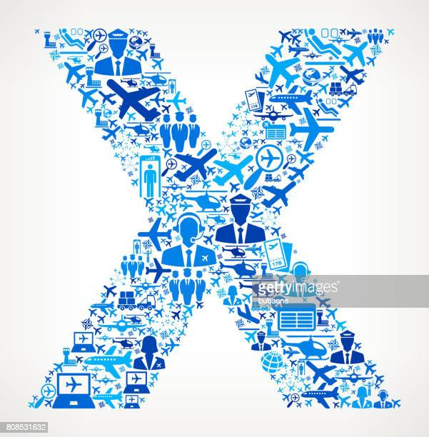 Letter X Aviation and Air Planes Vector Graphic