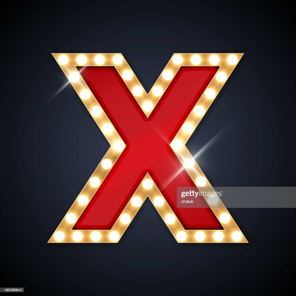 Letter X in shape of retro sing-board with lamps