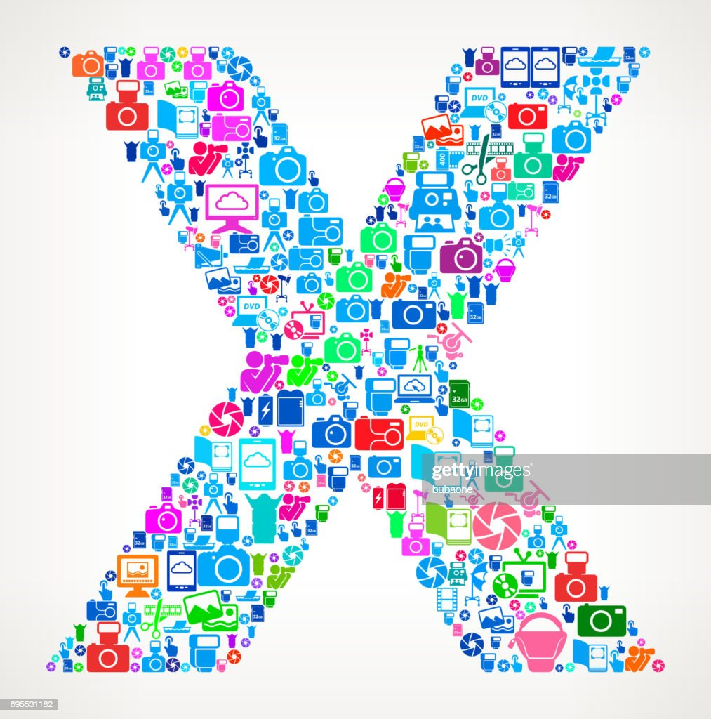 Letter X Photography and Camera Vector Icons Background