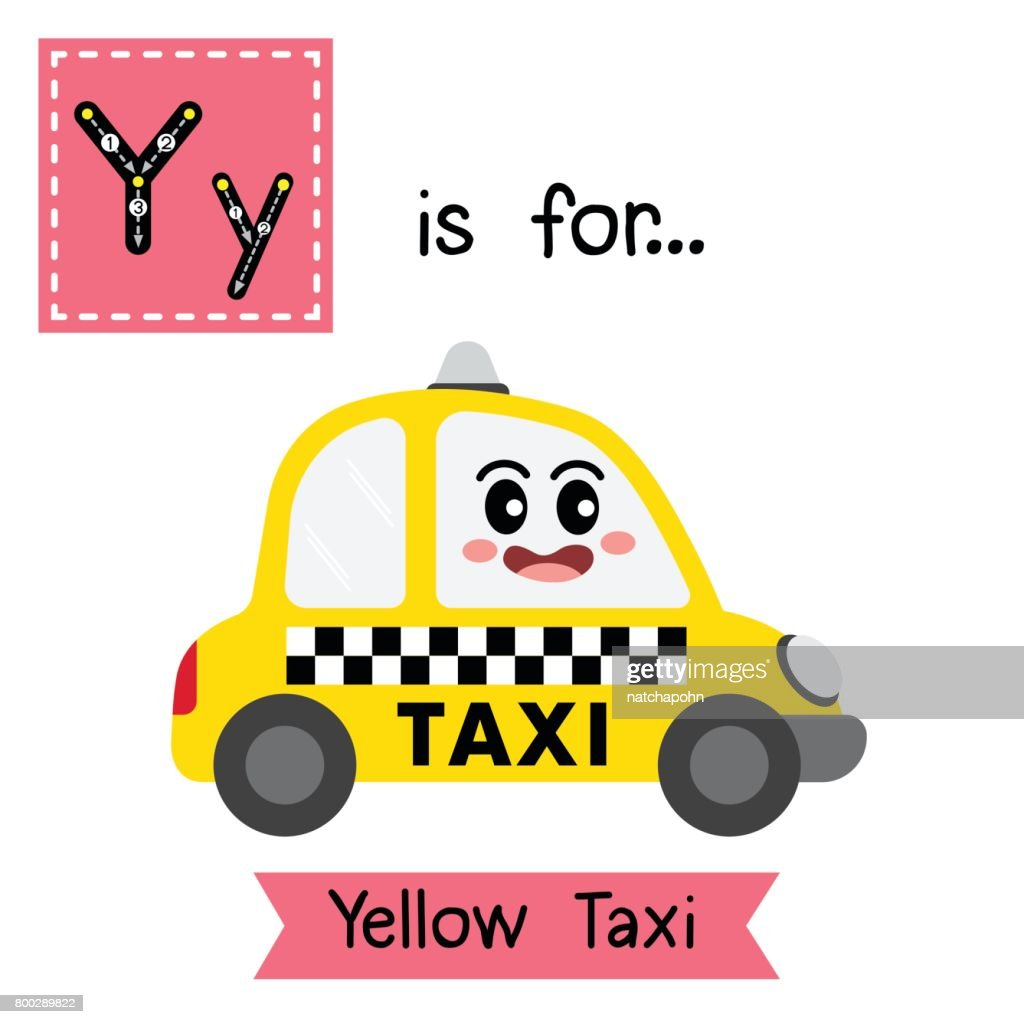 Letter Y tracing. Yellow Taxi
