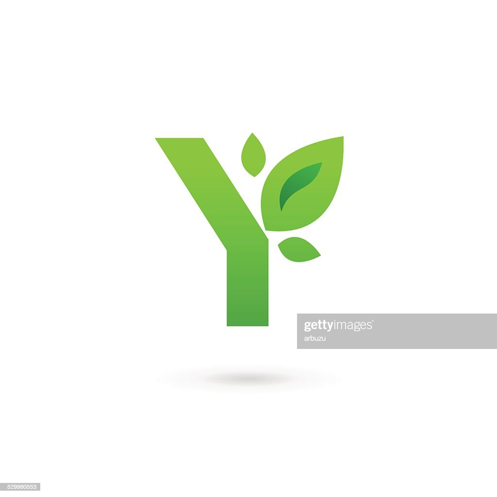 Letter Y with eco leaves icon