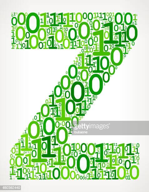 Letter Z Binary Code Zero One Vector Icons Background