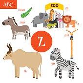 Letter Z. Cartoon alphabet for children.