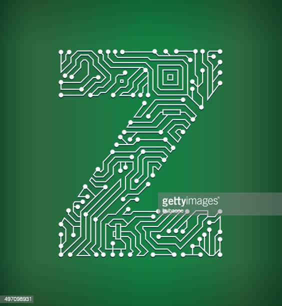 Letter Z Circuit Board royalty free vector art background