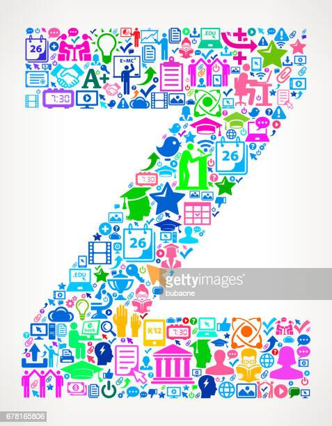 Letter Z E-Learning College Education Icons Background Pattern
