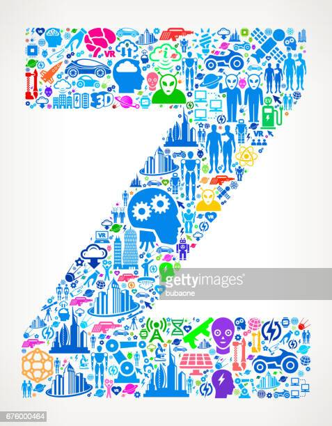 stockillustraties, clipart, cartoons en iconen met letter z toekomstige en futuristische technologie vector pictogramachtergrond - generation z