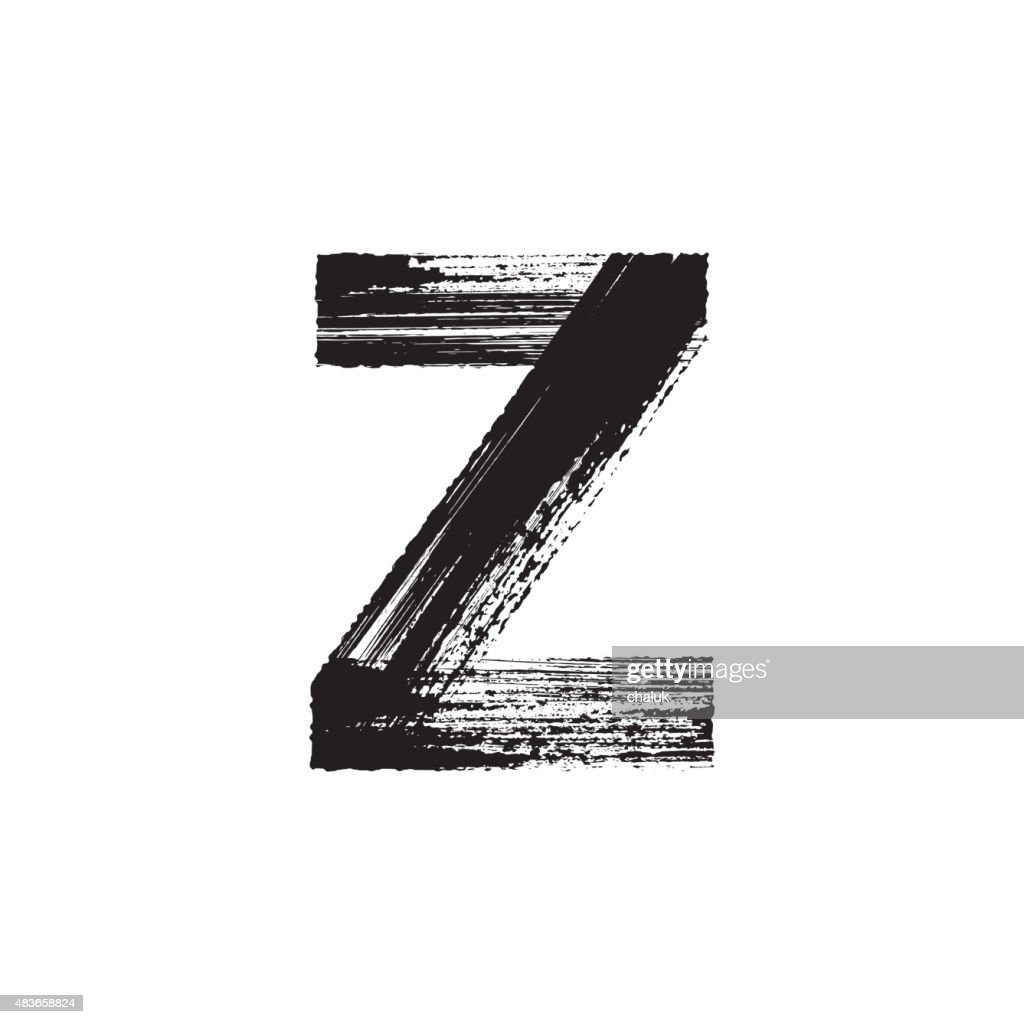 Letter Z hand drawn with dry brush