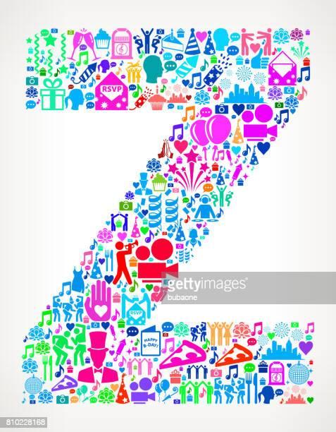 Letter Z Happy Birthday Celebration Vector Icon Pattern