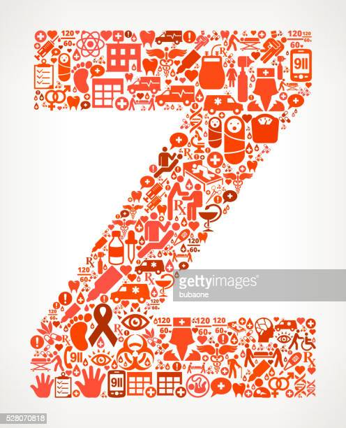 Letter z Healthcare and Medical Red Icon Pattern