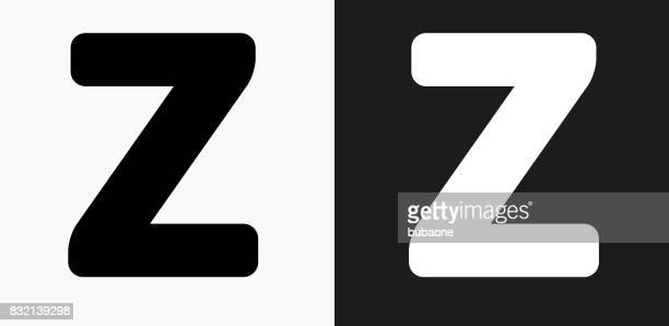 Letter Z Icon on Black and White Vector Backgrounds