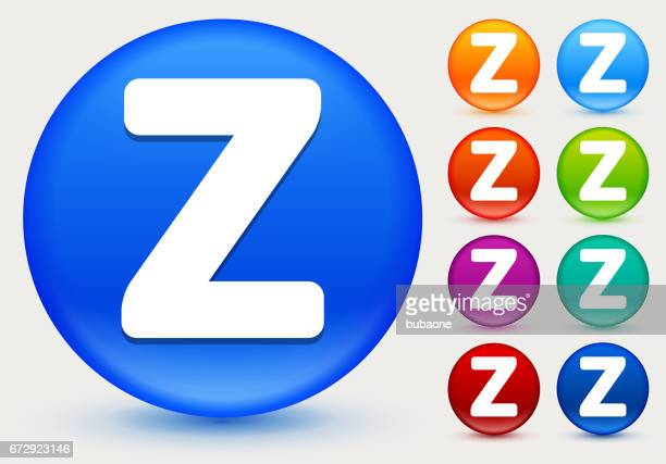 Letter Z Icon on Shiny Color Circle Buttons