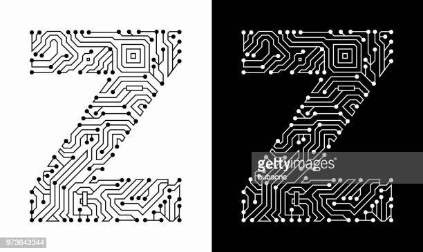 Letter Z in Black And White Circuit Board Font