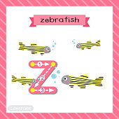 Letter Z lowercase tracing. Zebrafish