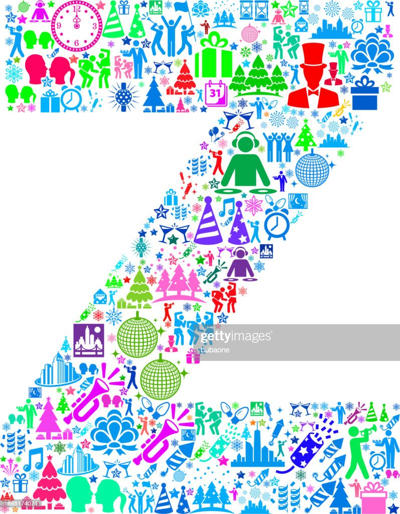 Letter Z New Year 2018 Celebration Vector Icon Pattern Vector Art