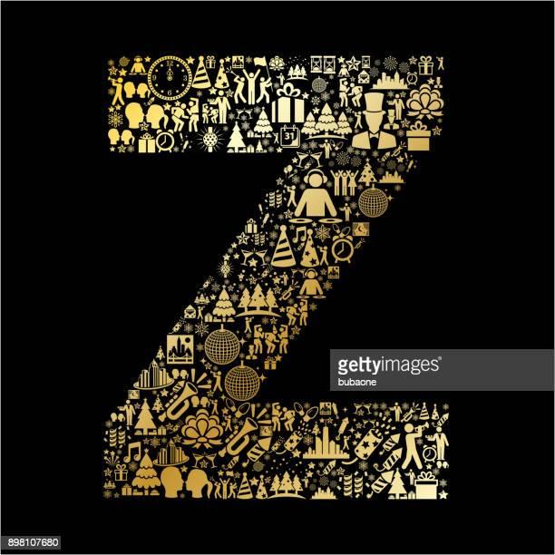 Letter Z New Year Golden 2018 Celebration Vector Icon Pattern