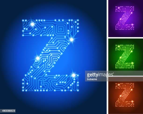 Letter Z on Blue Circuit Color Set