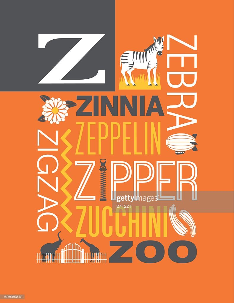 Letter Z poster. Illustrations and words that start with Z.