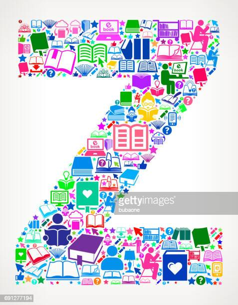 Letter Z Reading Books and Education Vector Icons Background