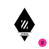 Letter Z symbol. Zebra stripes fashion style symbol.