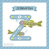 Letter Z uppercase tracing. Zebrafish