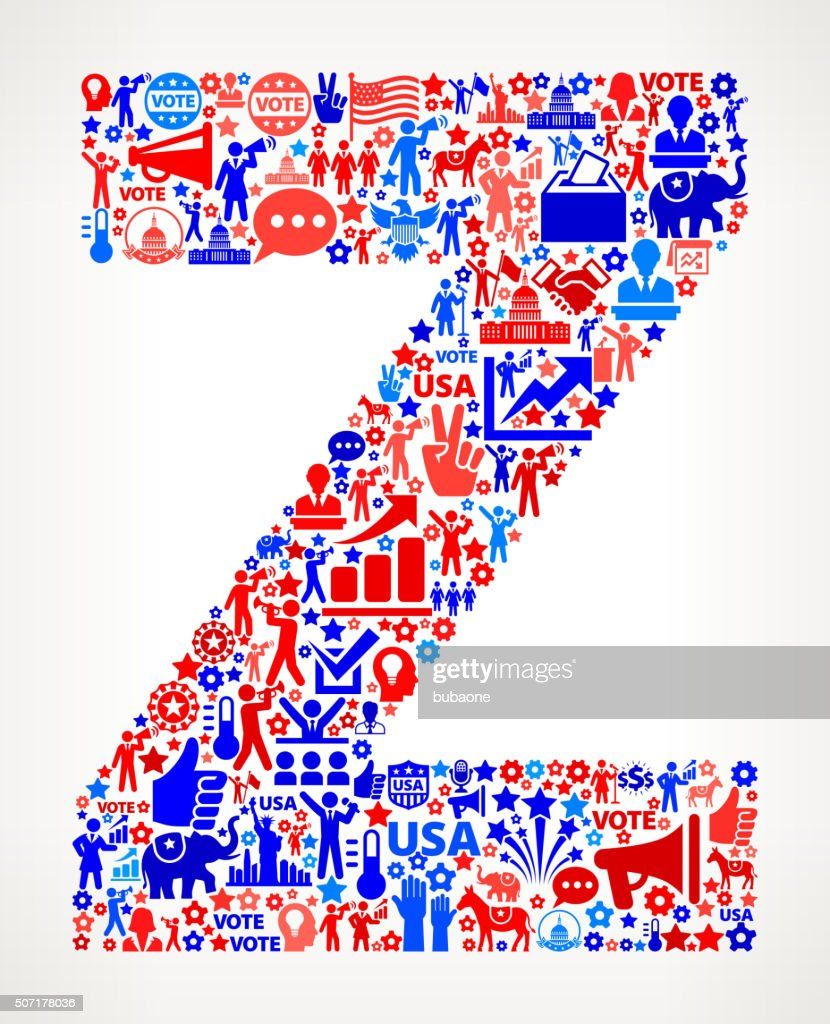 Letter Z Vote And Elections Usa Patriotic Icon Pattern Stock