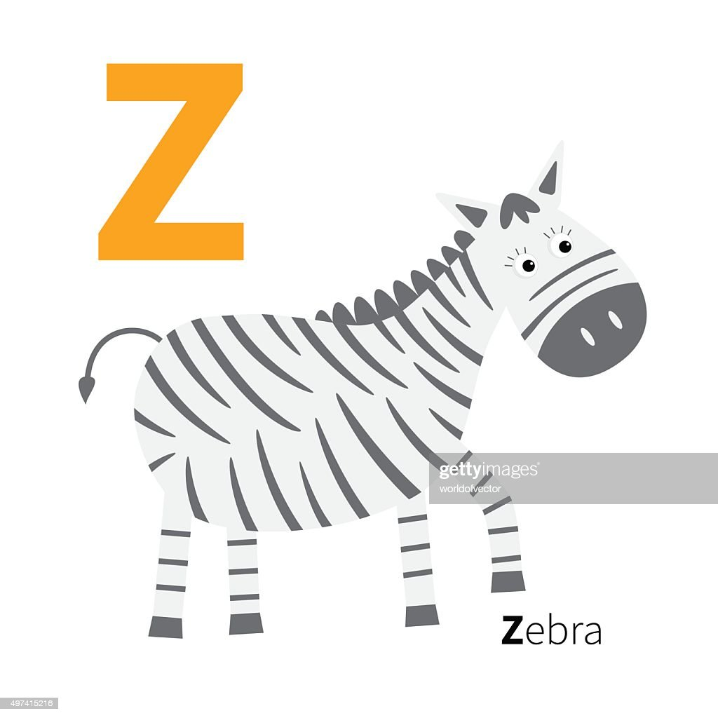 Letter  Zoo alphabet. English abc Flat design
