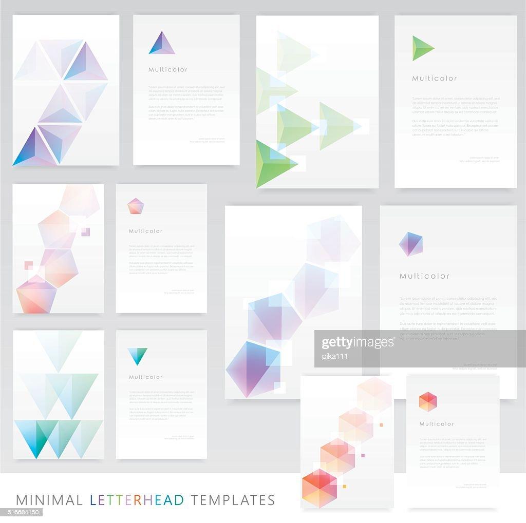 Letterhead templates in clean minimal colorful geometric design