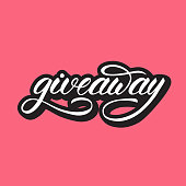 """Lettering design with a word """"giveaway"""". Vector illustration."""