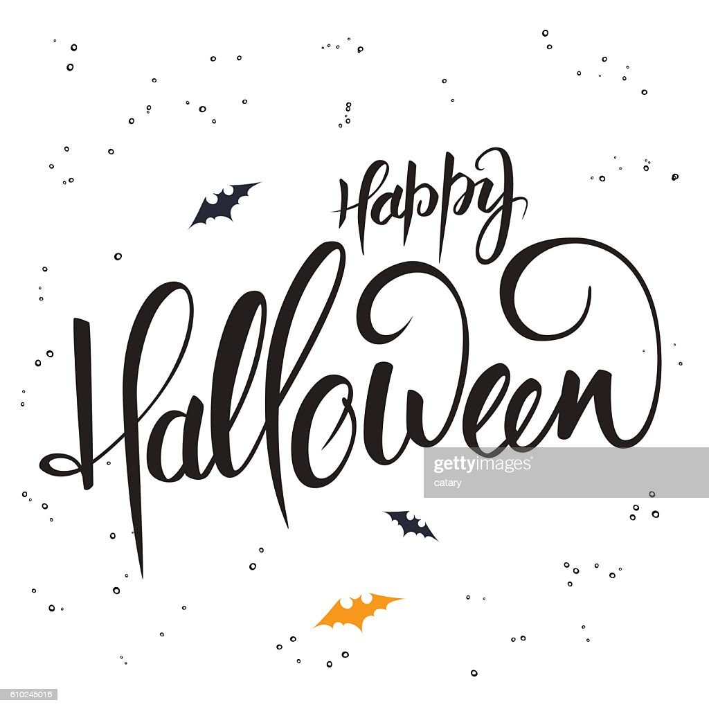 lettering halloween greetings text - happy halloween with bat
