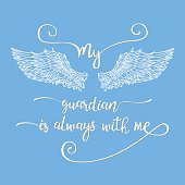 Lettering hand drawn quote with angel wings.