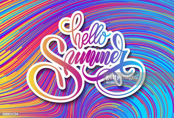 """lettering """"hello summer"""" on color background for design of flier, banner, poster - fun stock illustrations, clip art, cartoons, & icons"""
