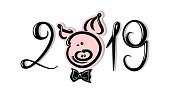 2019, lettering inscription with pig
