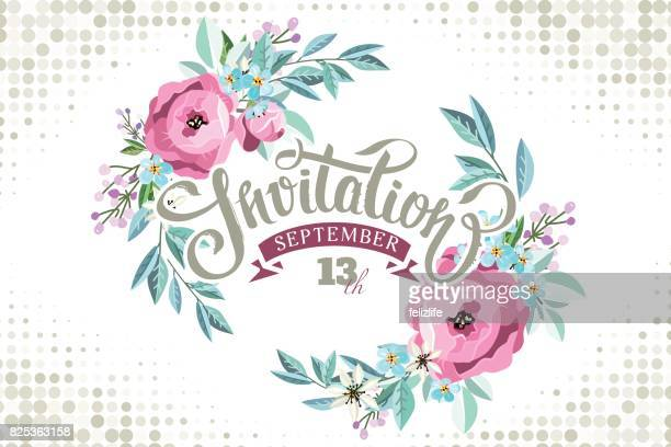 "Lettering ""invitation"" with flowers wreath"