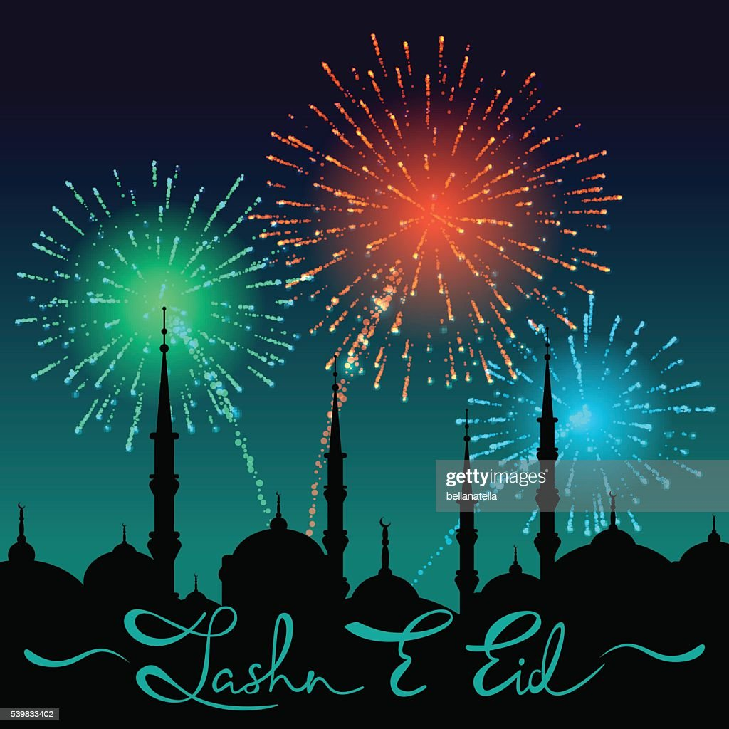 Lettering Jashn E Eid on silhouette of mosque cityscape.