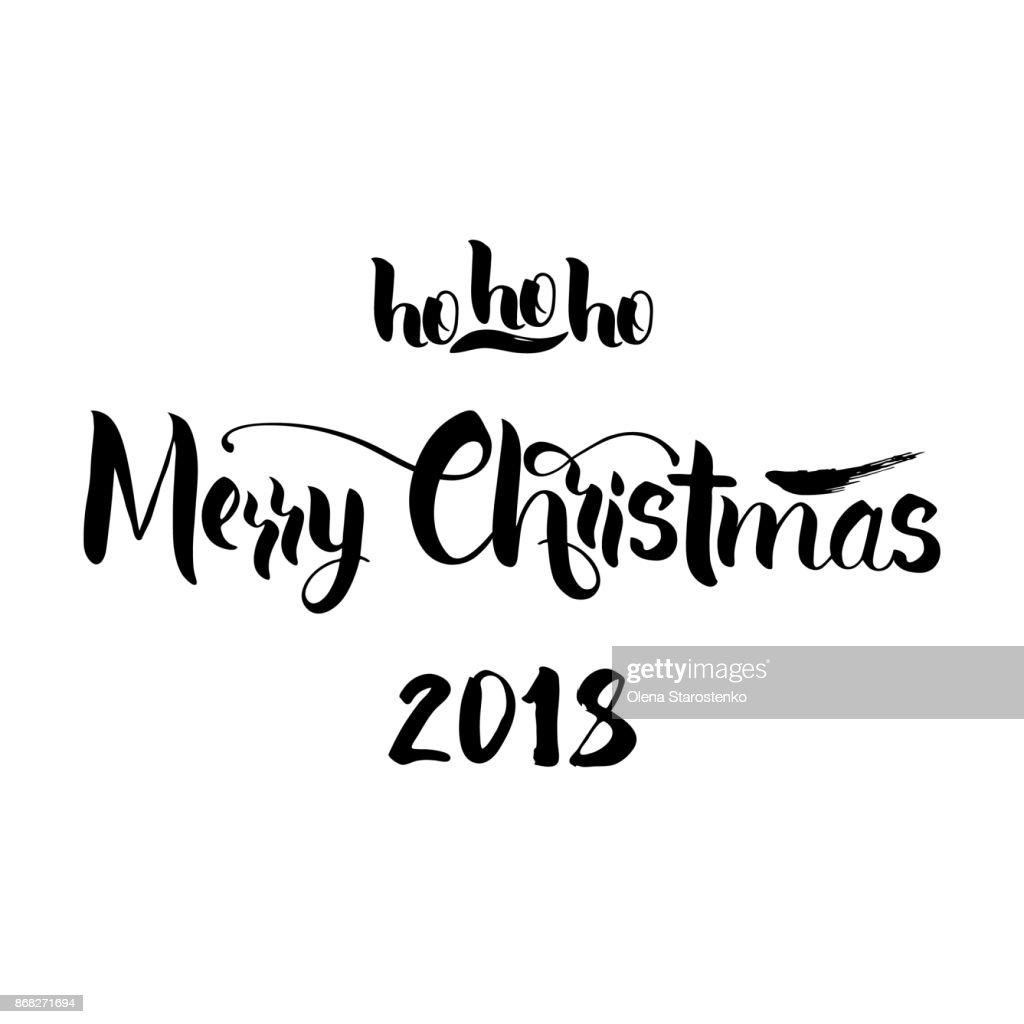 Schriftzug Frohe Weihnachten.Schriftzug Frohe Weihnachten Und Hohoho Frohe Weihnachtsgrußkarte