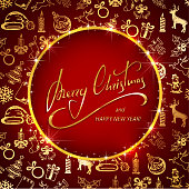 Lettering Merry Christmas on red background with golden decoration