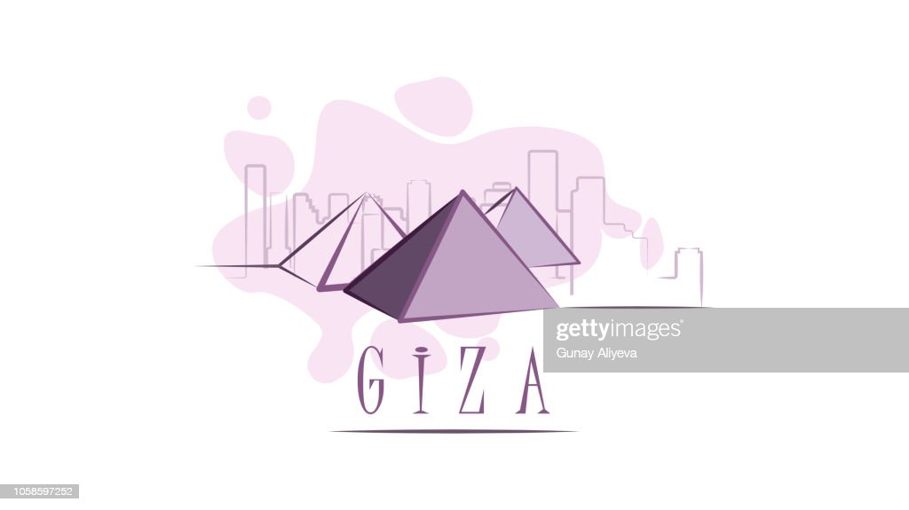 Lettering name of Giza. Flat colorful illustration. Template for travel, adventure, vacation. Concept for web banners and printed materials.