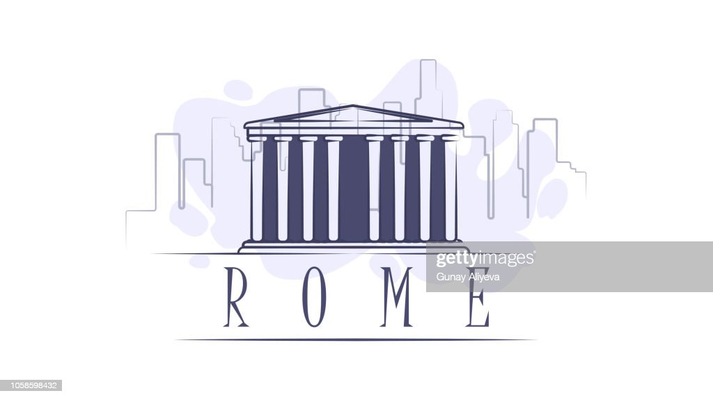 Lettering name of Rome. Flat colorful illustration. Template for travel, adventure, vacation. Concept for web banners and printed materials.