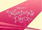 lettering of Happy Valentines day in golden on pink background decorated with hearts