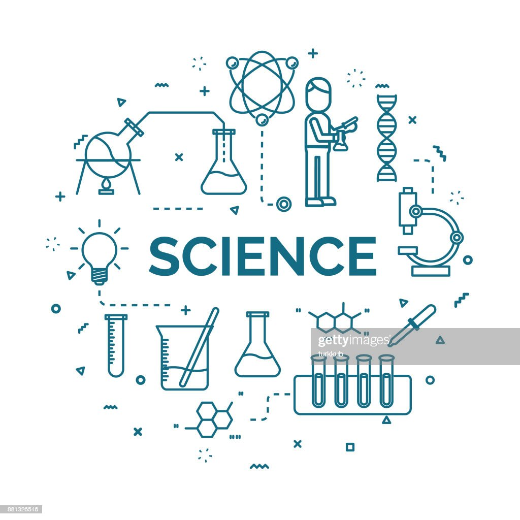 lettering of science concept with line icons set.