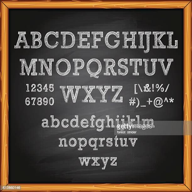 lettering on chalkboard - chalk art equipment stock illustrations, clip art, cartoons, & icons